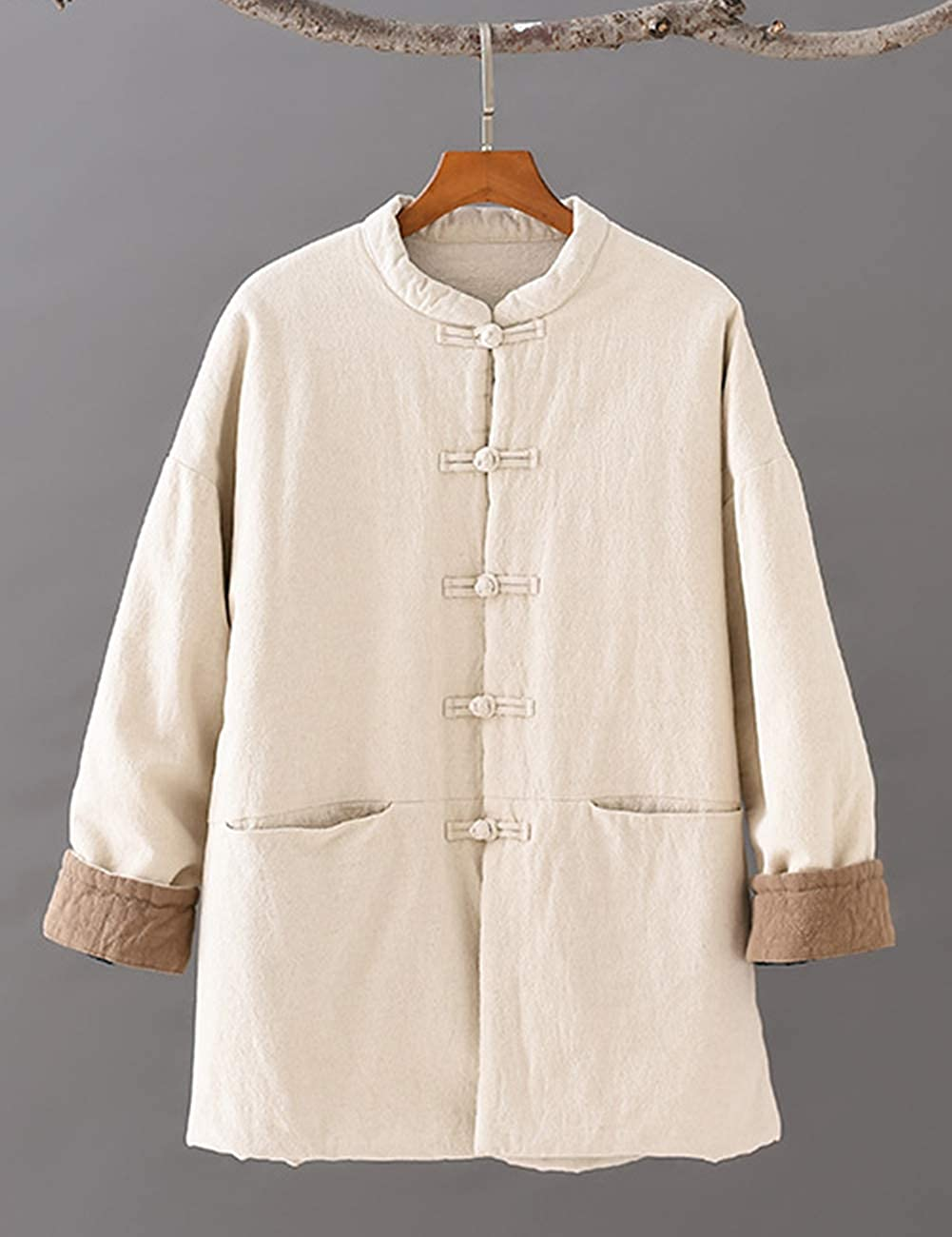 LZJN Womens Quilted Short Coat Jacket Chinese Style Tang Suit Cotton Linen Coat with Pockets