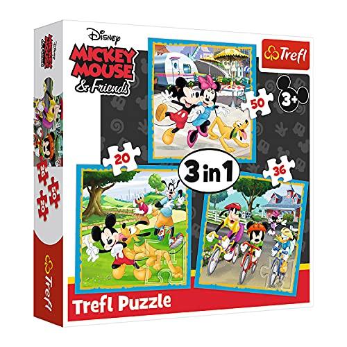 Trefl, 34846 Puzzle, Micky Maus mit Freunden, von 20 bis 50 Teilen, 3 Sets, Disney, für Kinder ab 3 Jahren