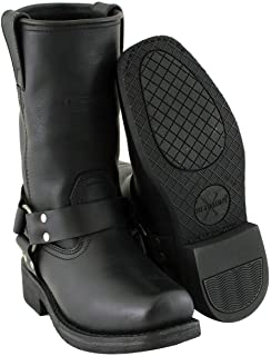 Xelement 2442 `Classic` Women`s Black Full Grain Leather Harness Motorcycle Boots - 7.5