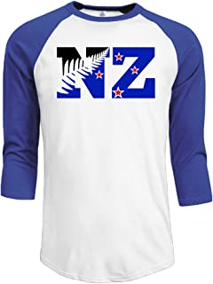 POPT! Man New Zealand Flag NZ Fern Leaf 3/4 Sleeve Royalblue