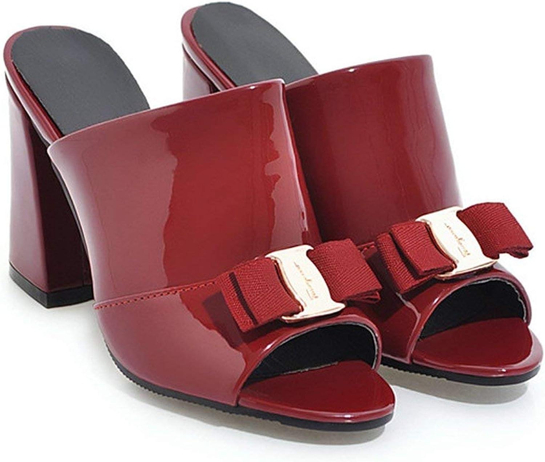 Surprisedresshatglasses-slippers shoes Summer High Heels Peep Toe Party shoes Bow Block Heel Slipper Outdoor Red Black 34-43