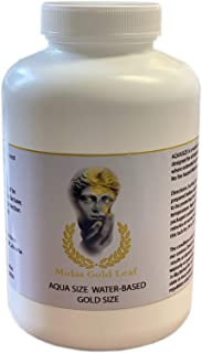 Gilding Adhesive Aqua-Size by Midas gold leaf. for Indoor use only. 8oz Gold,Silver,Copper Glue for Walls Ceilings Frames Decorations and Much More.