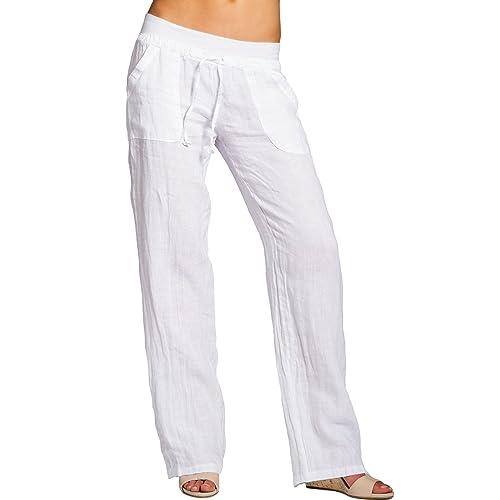 3981b2b6345d Caspar KHS025 Pantalones Largos de Lino para Mujer Corto Holgado