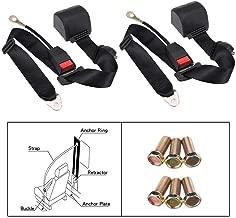 2 Set Universal Adjustable Retractable 3Point Safety Auto Car Seat Belt Lap Belt