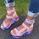 Sandalias para Mujer, Sandalias de Playa Sandalias Romen Zapatos, Rhinestone Comfy Flat Casual Casual Toe Flip Slippers (Color : D, Size : 5.5)