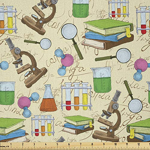 Lunarable School Fabric by The Yard, Science Education Lab Sketch Books Equation Loupe Microscope Molecule Flask Print, Microfiber Fabric for Arts and Crafts Textiles & Decor, 1 Yard, Cream