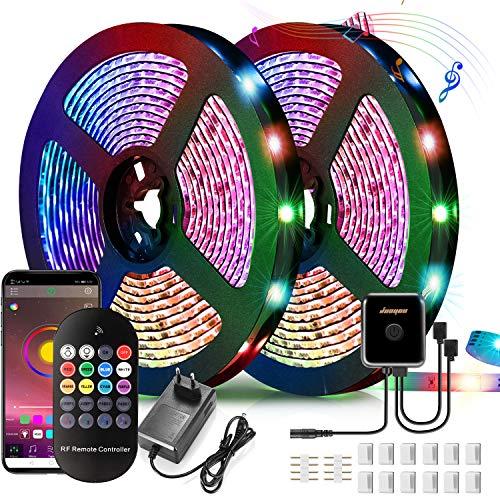 Tira de luces LED RGB 5050 con Bluetooth, 20 m, 24 V, con función musical, control por aplicación y mando a distancia RF, banda de luz LED con 16 millones de colores
