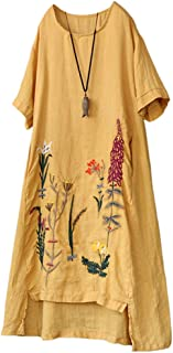 Women's Embroidered Linen Dress Summer A-Line Sundress Hi Low Tunic Clothing