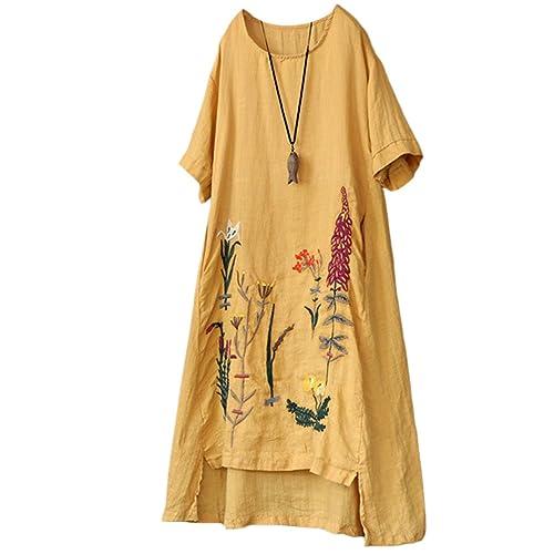 059881138fb Minibee Women s Embroidered Linen Dress Summer A-Line Sundress Hi Low Tunic  Clothing