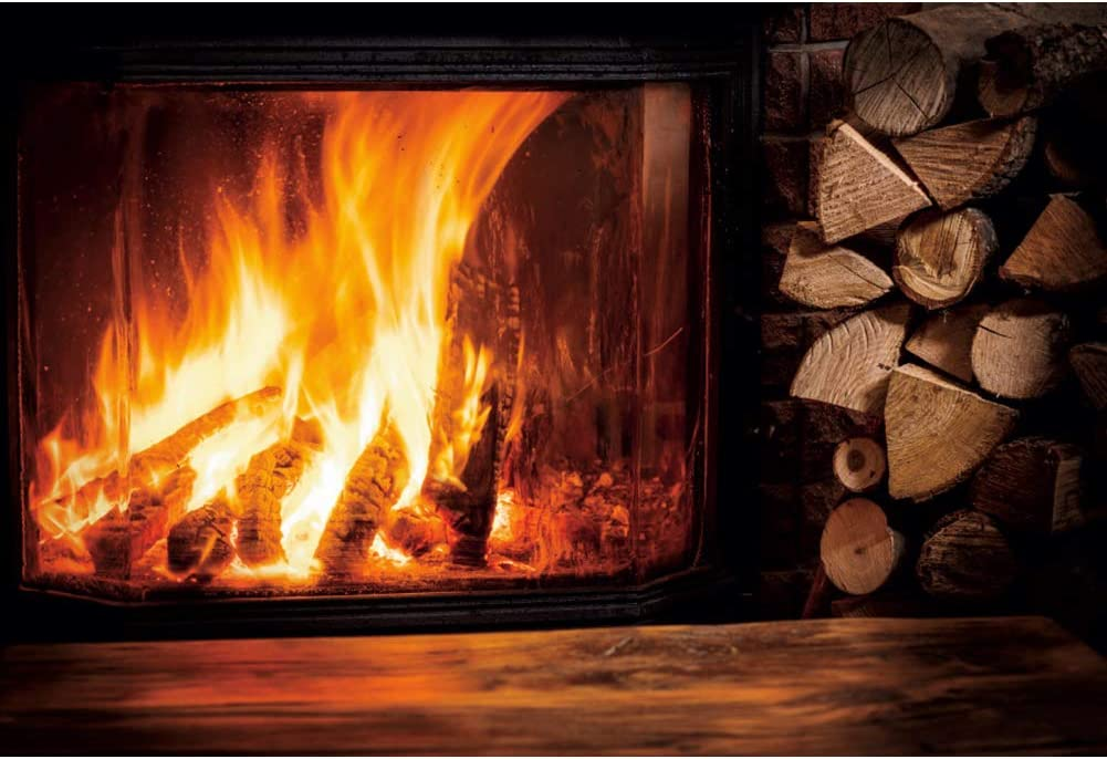 DORCEV 12x8ft Christmas Festival Photography Backdrop Wooden Texture Floor Burning Fireplace Background Winter Christmas Weekend Family Party Banner Photo Studio Props Wallpaper