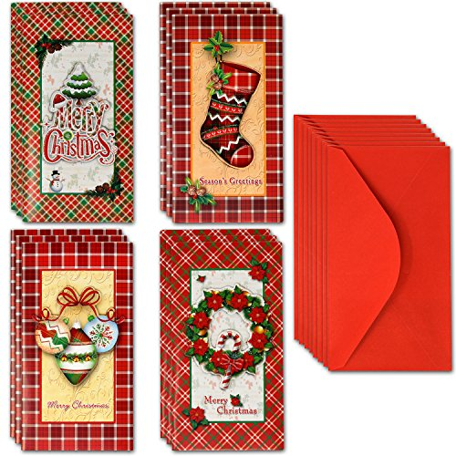 Christmas Money or Gift Card Holders with Envelopes 12 Count in 4 Assorted Pop up Merry Christmas Design with Slot for Holiday Greeting Cards, Cash, Check, Dollars, Flower Arrangement Cards