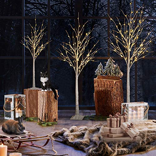 Hooseng Christmas Tree Set of 3 Artificial Christmas Decorations Clearance Outdoor, 4FT. 5FT. 6FT, Pre-lit Warm White LED Light Birch Tree for Christmas Decoration, Festival and Party