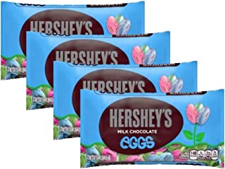 Hersheys Milk Chocolate Eggs Easter Candy - Pack of 4 Bags - 8 oz Per Bag - 32 oz Total of Bulk Individually Wrapped Hersheys Eggs
