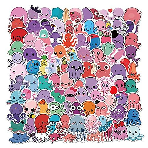 KEJIA Dibujos Animados Lindo Pulpo Graffiti Pegatinas Maleta PVC Pegatinas Impermeables 100 Hojas