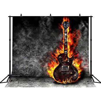 Amazon Com Fhzon 10x10ft Burning Guitar Photography Backdrops Dark Grey Wall Background Wallpaper Party Photo Booth Props Lsfh615 Camera Photo
