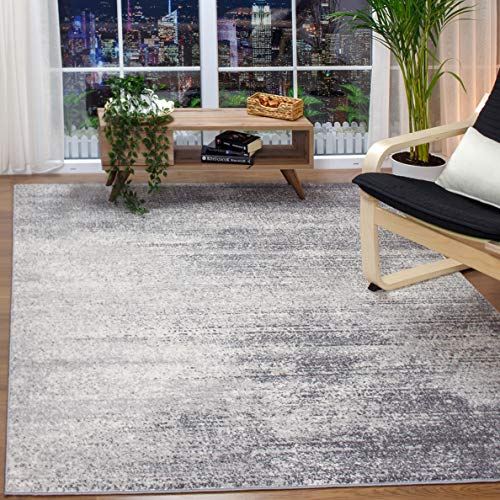 Antep Rugs Florida Collection Distressed Modern Abstract Polypropylene Indoor Area Rug (Grey, 8' x 10')