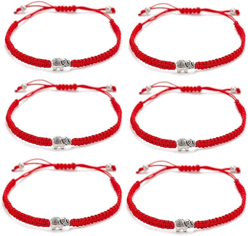 kelistom 6pcs Red String Evil Eye Charm Bracelets for Women Men