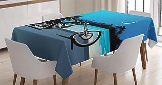 ABAKUHAUS Moto Nappe, Chopper Motorcycle, Linge de Table Rectangulaire pour Salle à Manger Décor de Cuisine, 140 cm x 170 ...