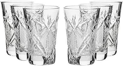 SET of 6 Russian CUT Crystal Shot Glasses 35ml Hand Made