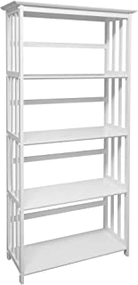 Casual Home Mission Style 5-Shelf White Bookcase,