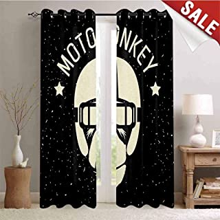 Hengshu Outer Space Decor Curtains by Sign Alien Monkey with Astronaut Costume in a Galaxy with Stars Poster Room Darkening Wide Curtains W72 x L84 Inch Black and White