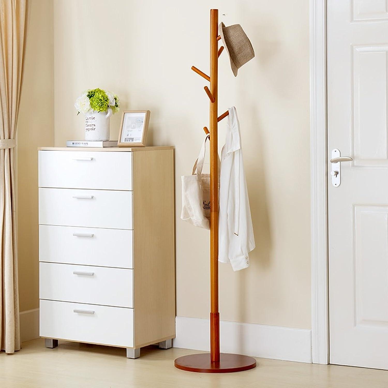 TIANTA- Coat Racks Landing Bedroom Solid Wood Clothes Shelves Hangers Simple Modern Home Furnishing (color   Wood color)