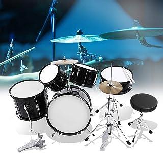5 Drum Set, Black Kids Junior Drum Kit Stool Drumsticks Pedal Beginners Set Percussion Musical Instrument for Children Beg...