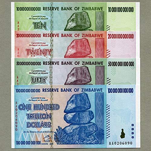 Billetes de Zimbabwe 100, 50, 20 y 10 trillones de dólares, dinero, inflación, récord