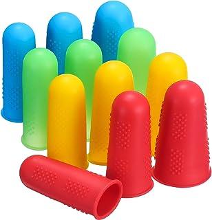 Frienda 12 Pieces Hot Glue Gun Finger Caps Silicone Finger Protectors for Hot Glue Wax Rosin Resin Honey Adhesives Scrapbo...