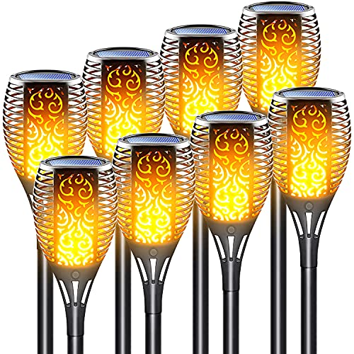 LazyBuddy Solar Torch Light with Flickering Flame, Outdoor Waterproof Solar Fire Lights, Solar Powered Garden Pathway Lawn Landscape Decorations Security Torches, Auto On Off Dusk to Dawn, 8 Pack