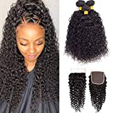 10A Brazilian Virgin Remy Curly Hair 3 Bundles with Lace Closure Free Part (12 14 16+10'4x4 Closure) Kinky Curly Human Hair Weave Bundles with Closure 100% Unprocessed Virgin Remy Hair Bundles with Closure Natural Color