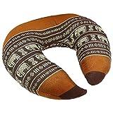 Kapok cuscino Thai cuscino a forma di cuscino cervicale/collo/cuscino da viaggio in rosso nero con elefanti modello–mythai Massage–Realizzato a mano in Thailandia
