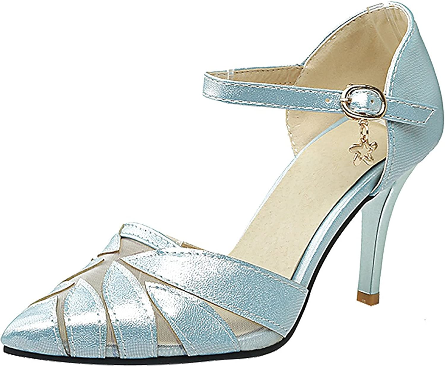 Calaier Womens Salbs Pointed-Toe 8CM Stiletto Buckle Sandals shoes