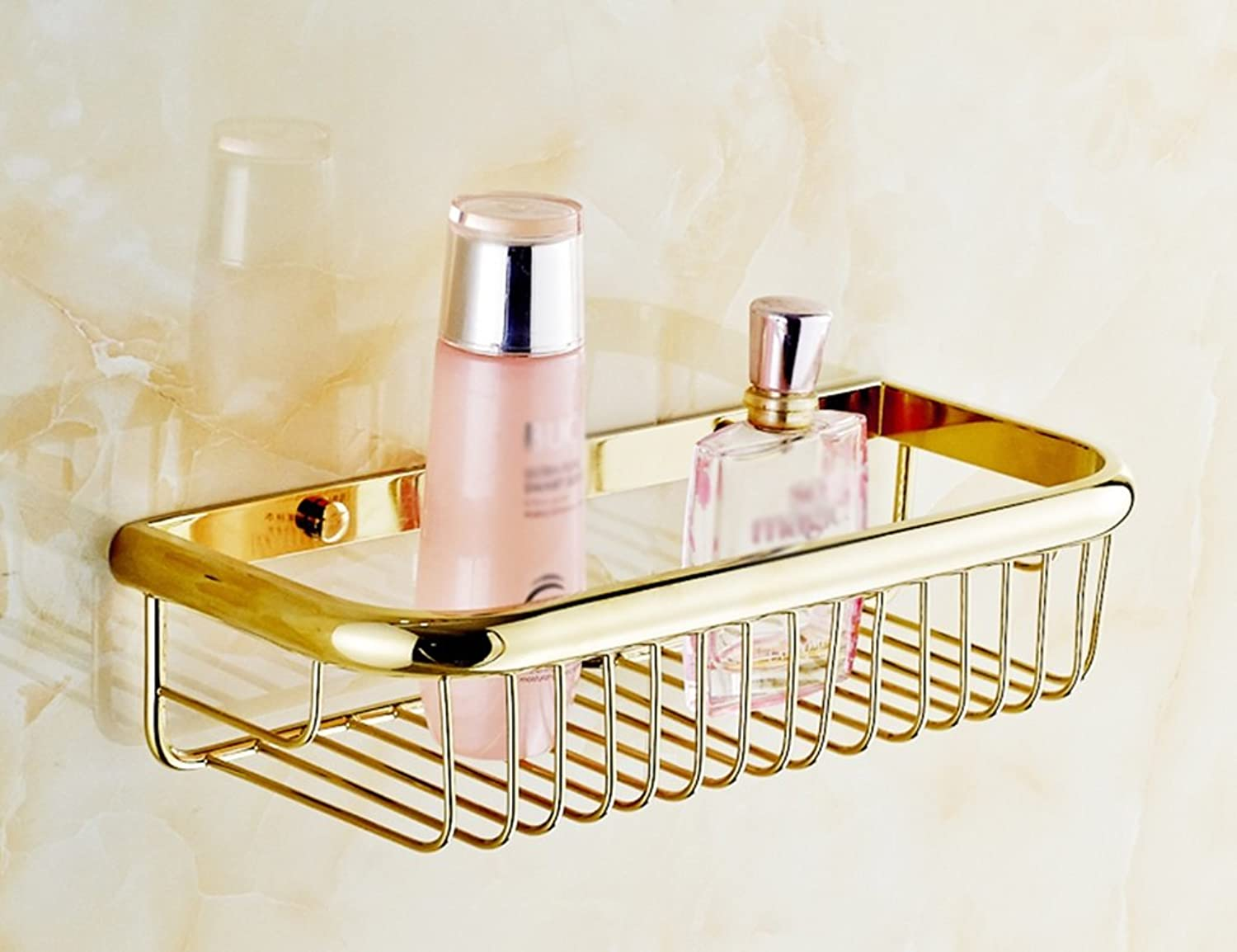 Copper Basket Shelf Single Layer Thickening Bathroom Shelf Clean Storage Rack (color   gold-Plated)