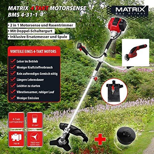 Matrix BMS 4-31-1 4-Takt Benzin Motorsense Rastentrimmer inkl Grasschere