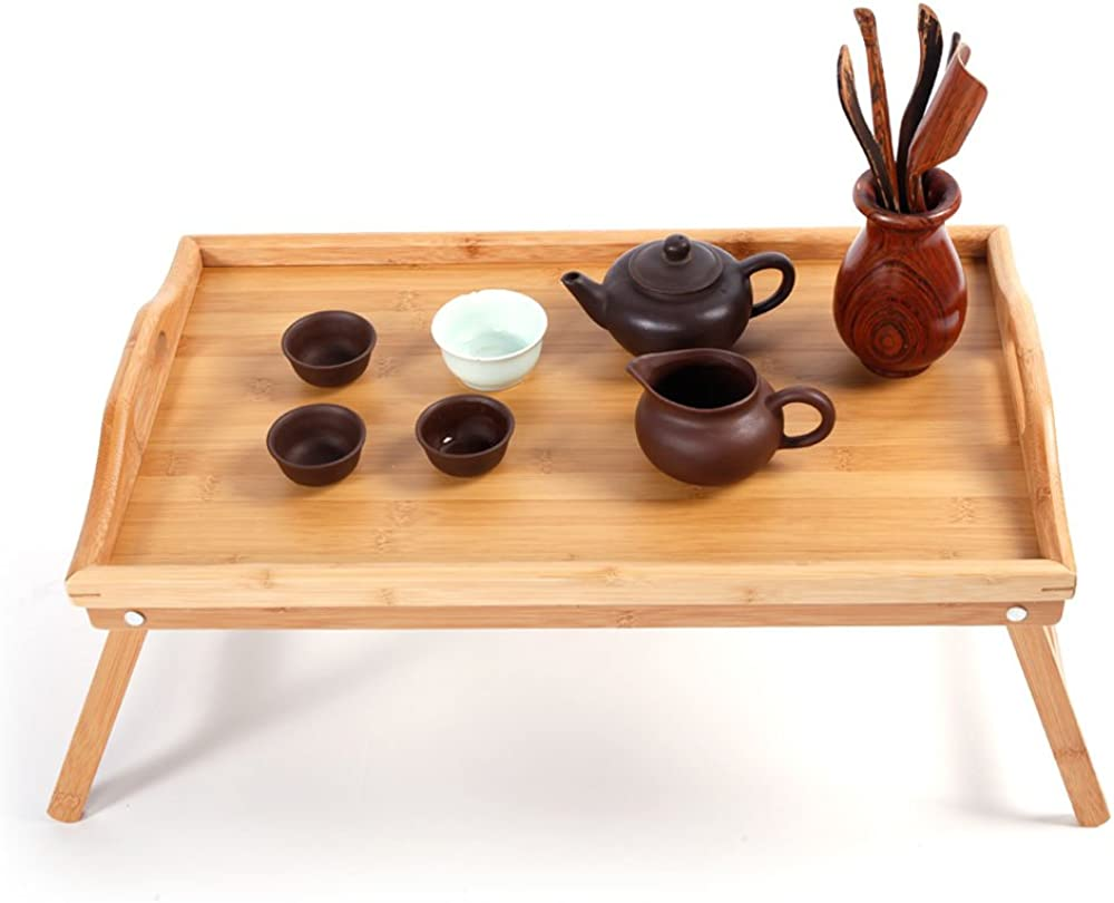 Bamboo Tea Table Foldable Breakfast Tray Fol Chicago Mall Special sale item with Bed