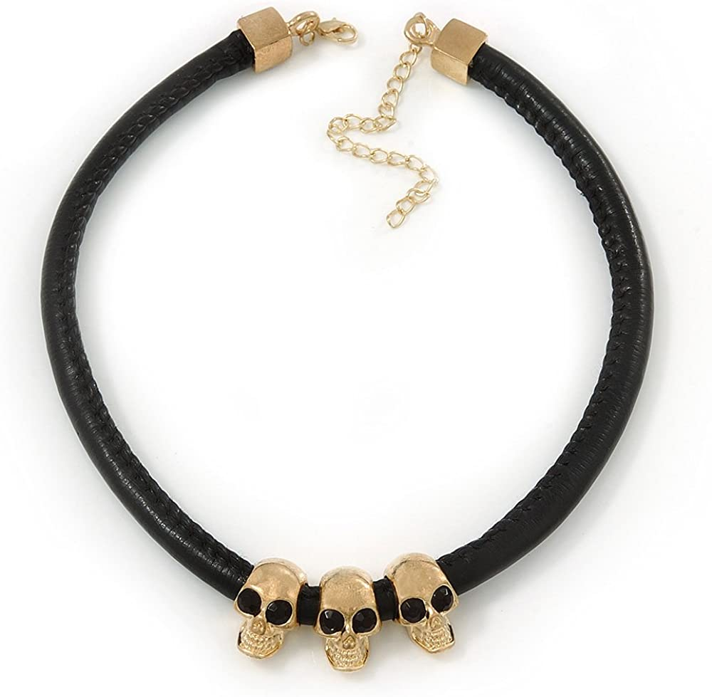 Triple Skull Black Leather Choker Necklace In Gold Plating - 38cm Length/ 9cm Extension