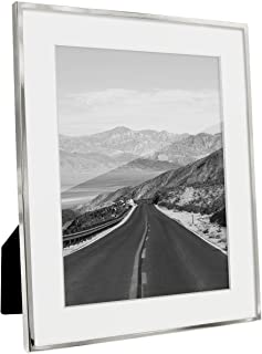Afuly Silver Picture Frame 6x8 or 8x10 Without White Mat Modern Metal Glass Photo Frame Wall Hanging Contemporary Decor