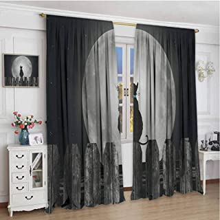 zojihouse Moon Silhouette of a Cat Looking to Full Moon While Sitting on The Fence Animal Curtains & Drapes Black Pale Grey Blue Wear Curtain W84xL96