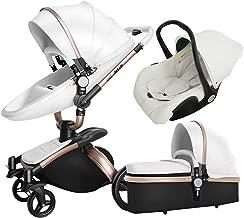 Luxury 3 in 1 Baby Stroller/Pram, PU Leather Pushchair+ Sleeping Basket + Car Seat, 360° Rotation, Bidirectional, Baby Trolley (White)