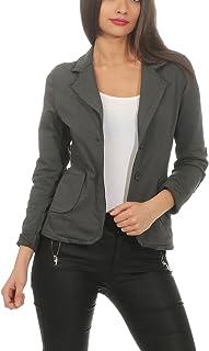 468f90e9ec1c81 ZARMEXX Blazer da Donna Button Down Jacket Jacket Blazer Basic Coat Vintage  Sweat Jacket (S