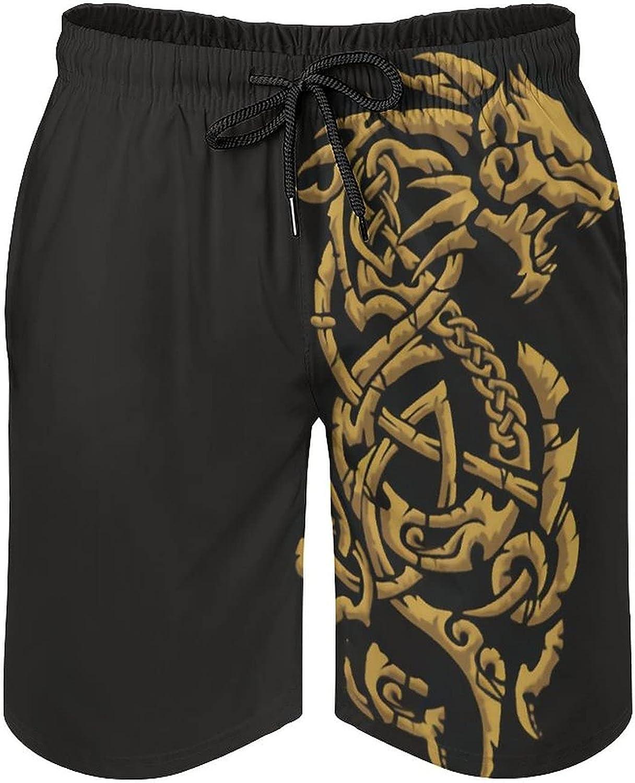 Viking Symbol - Fenrir Wolf Norse Mythology Men'sSummer Quick Dry Swim Trunks Casual Board Shorts Beachwear for Boys Men