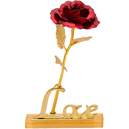 DSD Golden Red Rose Gift Box with Love Stand for Valentine Day Gift for Girls, Boys, Wife, Husband