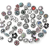 Ginooars Pack of 30 12mm Petite Rhinestones Snap Charms for Snap Bracelets Jewelry Supplies