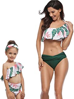 f45b95577d 2Pcs Mommy and Me Matching Family Swimsuit Ruffle Women Swimwear Kids  Children Toddler Bikini Bathing Suit