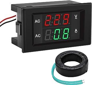 DROK 0.39 Inches LED 2in1 Multimeter AC 500V 200A Voltmeter Ammeter, AC Volts Meter Panel Ammeter Gauge with Current Trans...