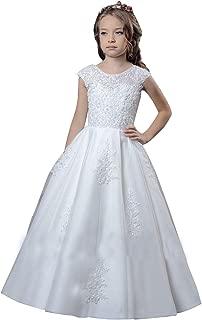 KSDN Cap Sleeve First Holy Communion Dress Floral Lace High Waist Flower Girls Ball Gown