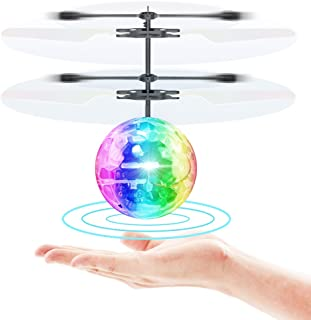 Toyk Flying Toy Ball Infrared Induction RC Flying Toy Built-in LED Light Disco Helicopter Shining Colorful Flying Drone Indoor and Outdoor Games Toys for 6 7 8 9 10 Year Old Boys and Girls