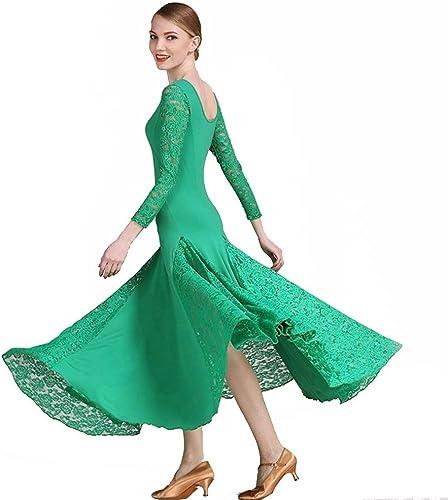 JINPENGRAN pour la Robe de Bal Dames Exercice Perforhommece Perforhommece Dentelle Viscose Dentelle Robe Ordinaire à Manches Longues,vert,XXL
