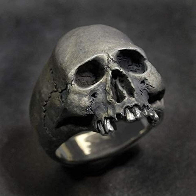 Anillo vintage de aleación de zinc cráneo color plata hombres cráneo Biker Rock Roll gótico Punk joyería anillo